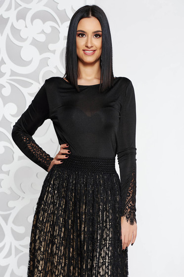 Top Secret black elegant women`s blouse long sleeve slightly transparent fabric with lace details