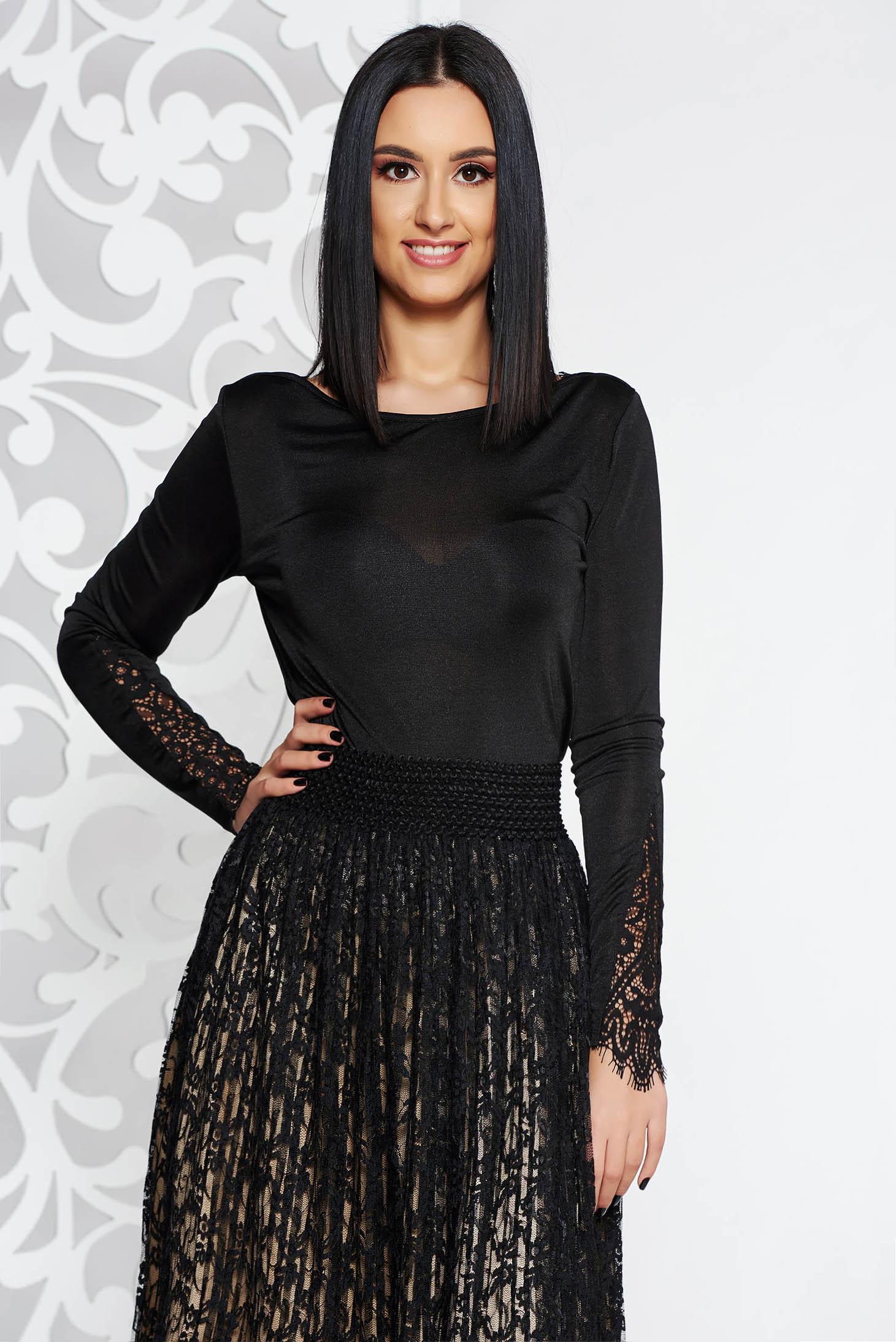 Fekete Top Secret elegáns női blúz hosszú ujjú enyhén áttetsző anyag csipke  díszítéssel 2d6121b8b7