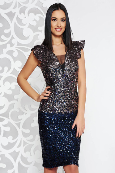 Artista purple occasional midi pencil dress with sequins with inside lining with push-up cups
