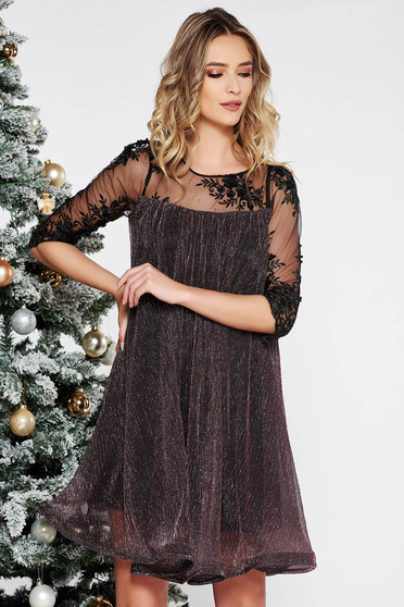 Artista rosa occasional flared dress thin fabric with inside lining with laced sleeves with lame thread