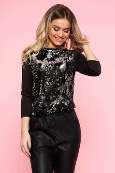 Top Secret black elegant 3/4 sleeve flared women`s blouse with sequin embellished details