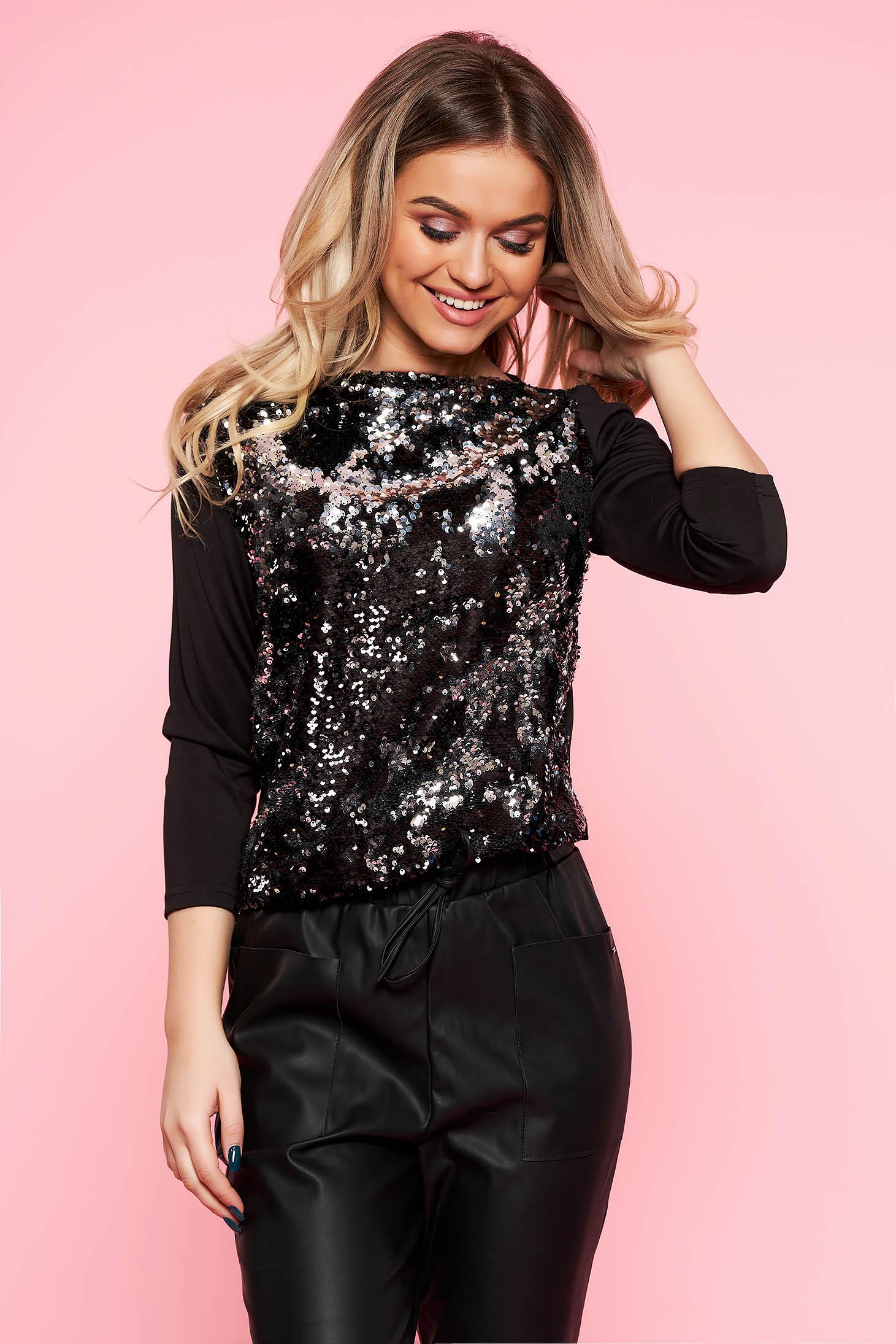 Top Secret black elegant 3/4 sleeve flared women`s blouse with sequin embellished details