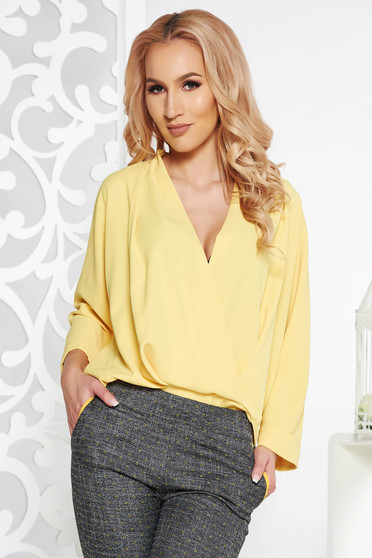 Fofy yellow elegant wrap around flared women`s blouse voile fabric with v-neckline
