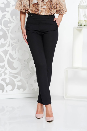Fofy black office conical trousers with medium waist with pockets slightly elastic fabric metallic details