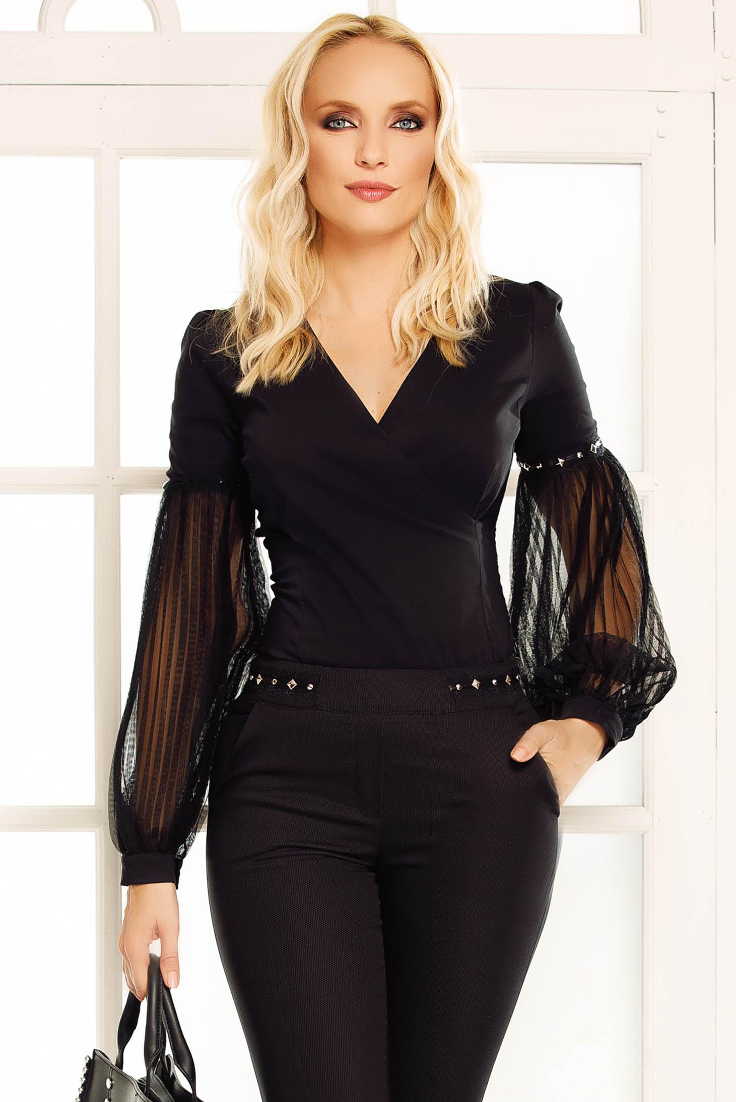 Fekete Fofy elegáns női ing szűk szabás enyhén elasztikus pamut  v-dekoltázzsal 59614d633e