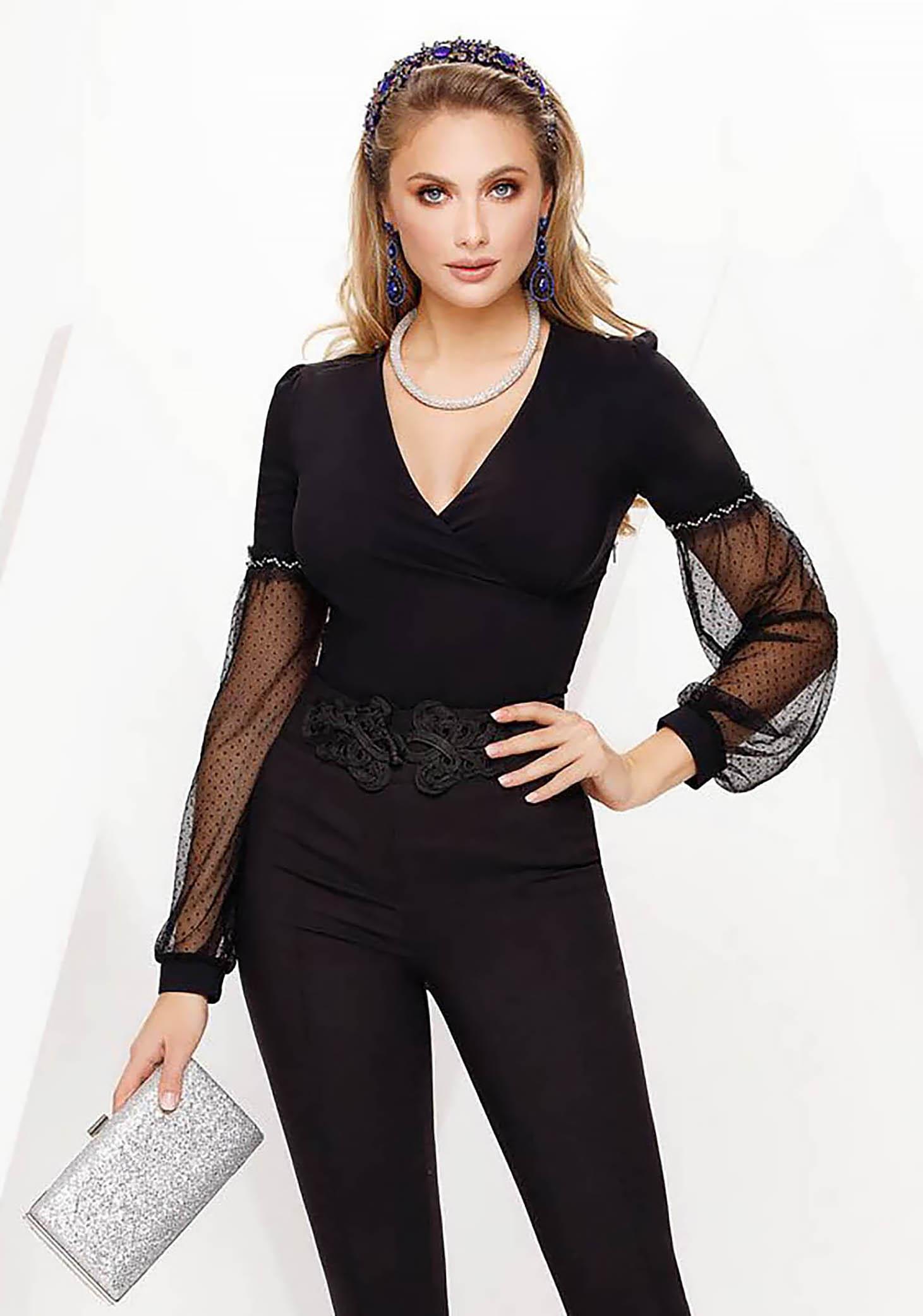 Fekete Fofy elegáns női ing szűk szabás enyhén elasztikus pamut v-dekoltázzsal