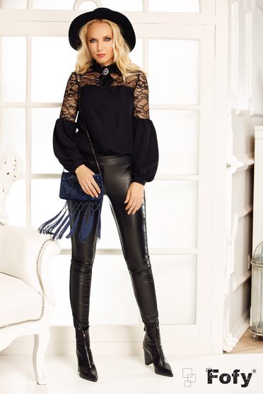 Fofy black women`s blouse elegant flared with puffed sleeves with lace details