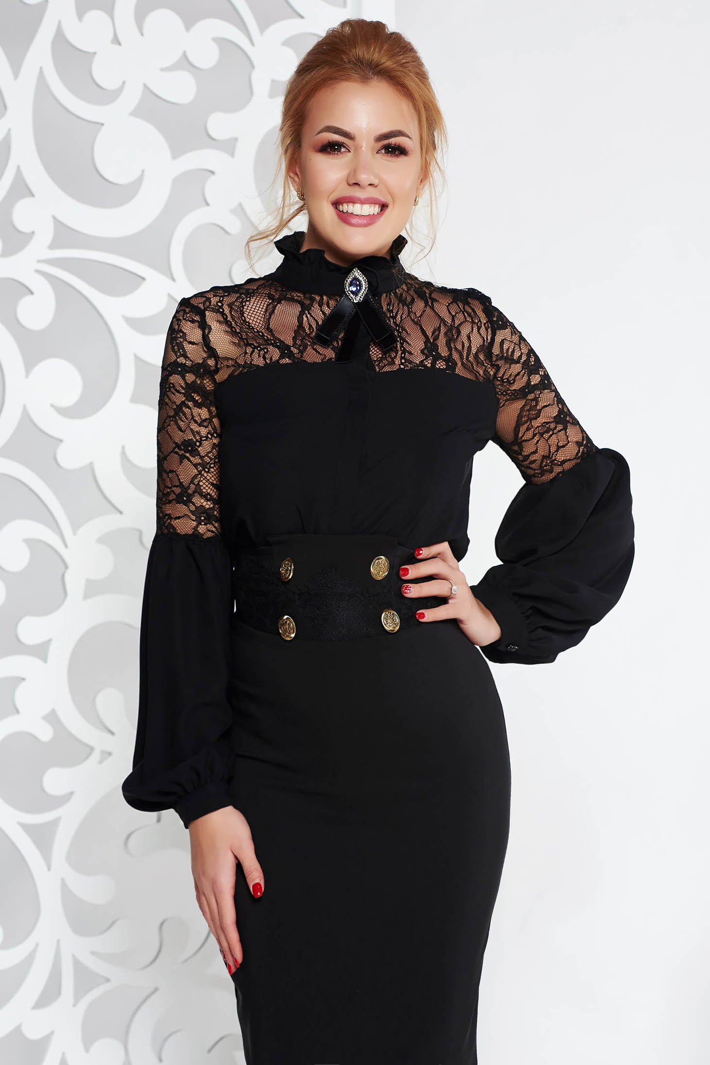 Fofy black elegant flared women`s blouse with puffed sleeves with lace details