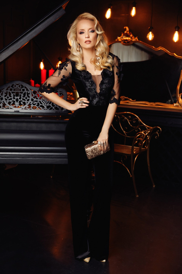Fofy black jumpsuit occasional velvet flaring cut with 3d effect with floral details
