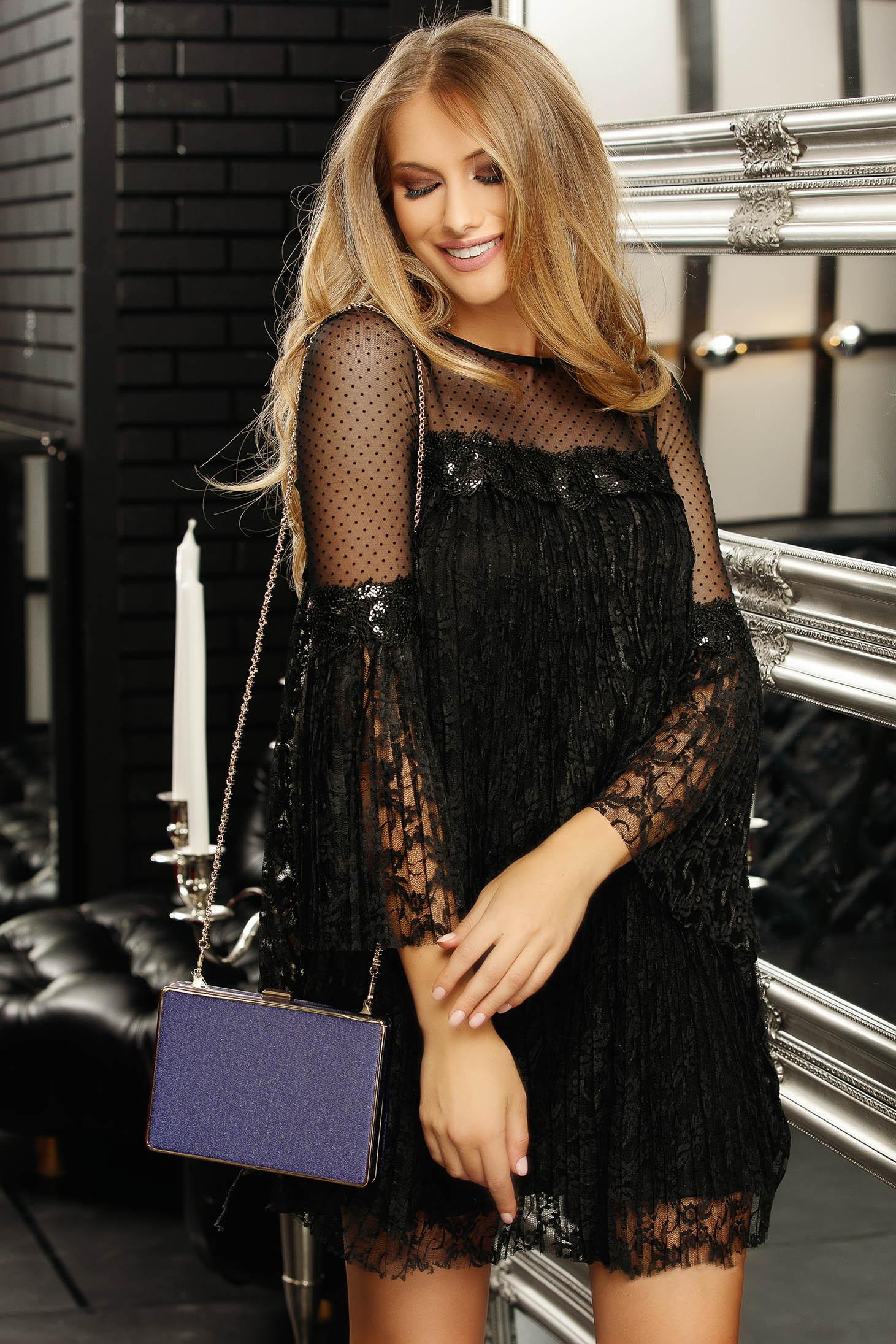Rochie Fofy neagra de ocazie cu croi larg din dantela captusita pe interior cu maneci clopot