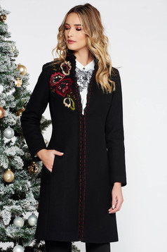 LaDonna black elegant embroidered wool coat arched cut with inside lining with pockets