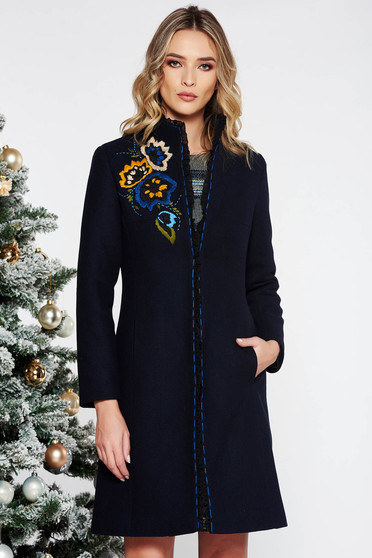 LaDonna darkblue elegant embroidered wool coat arched cut with inside lining with pockets