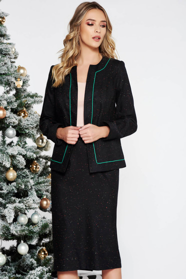 Darkgreen office wool lady set with inside lining with a skirt
