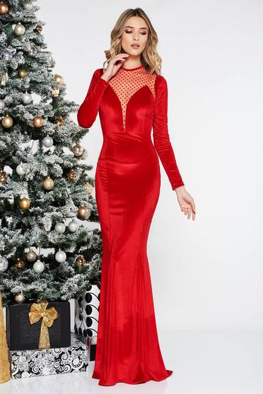 Red occasional long mermaid velvet dress from tulle long sleeved