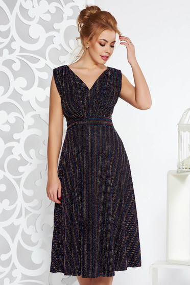 Black occasional midi cloche dress shimmery metallic fabric with inside lining with v-neckline