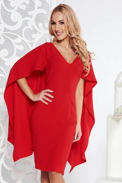 Red elegant midi pencil dress from non elastic fabric with v-neckline