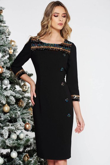 Black elegant midi pencil dress from non elastic fabric with inside lining with sequin embellished details