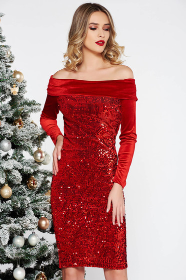 Artista red occasional dress with tented cut from velvet with sequins on the shoulders