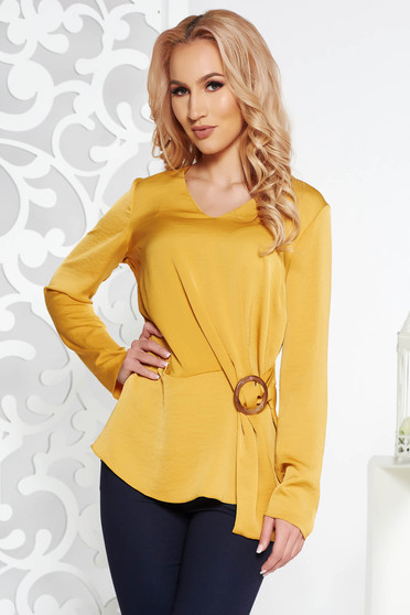 StarShinerS mustard elegant flared women`s blouse from satin fabric texture long sleeved