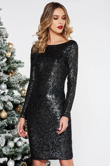 StarShinerS black clubbing midi dress with tented cut with sequins with inside lining
