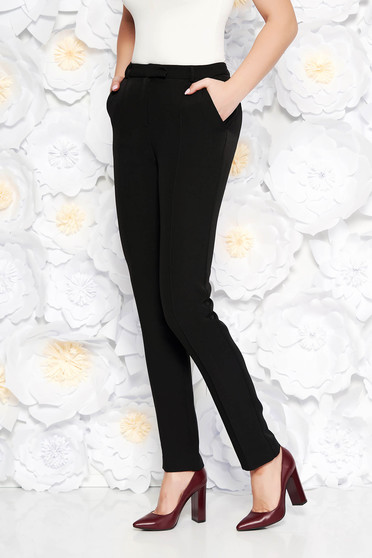 StarShinerS black conical office trousers slightly elastic fabric with medium waist with pockets