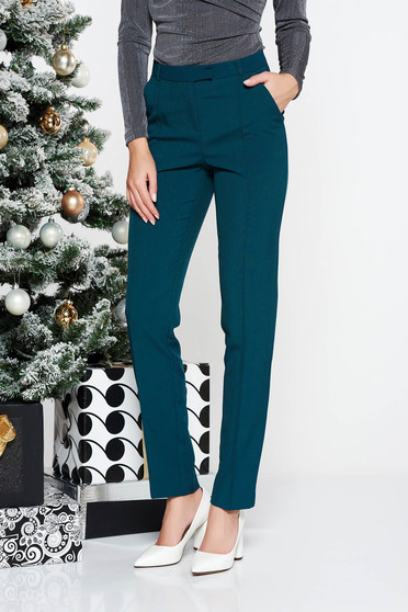 StarShinerS darkgreen conical office trousers slightly elastic fabric with medium waist with pockets