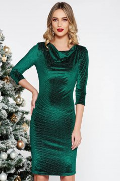 StarShinerS green occasional dress with tented cut from velvet with lame thread with 3/4 sleeves