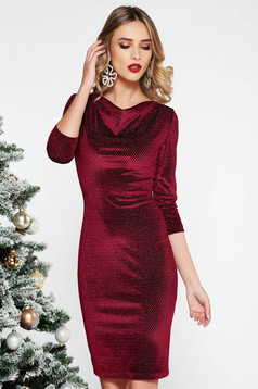 StarShinerS burgundy occasional dress with tented cut from velvet with lame thread with 3/4 sleeves