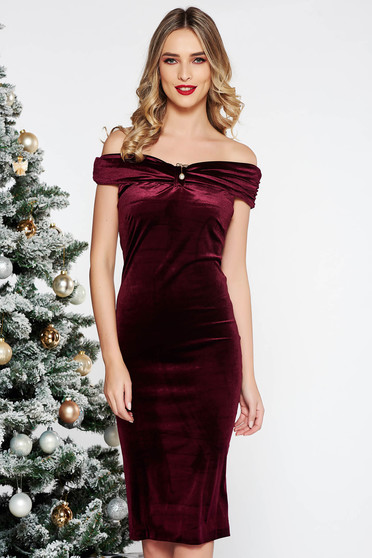 PrettyGirl burgundy occasional midi dress with tented cut from velvet with metalic accessory