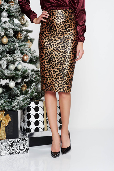 PrettyGirl brown clubbing midi pencil skirt from ecological leather with inside lining high waisted