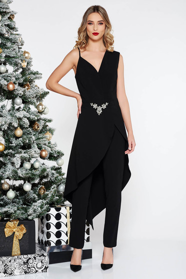 ba1e16240d43 PrettyGirl black occasional asymmetrical jumpsuit slightly elastic fabric  with embellished accessories