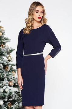 PrettyGirl darkblue elegant midi dress slightly elastic fabric with inside lining accessorized with belt