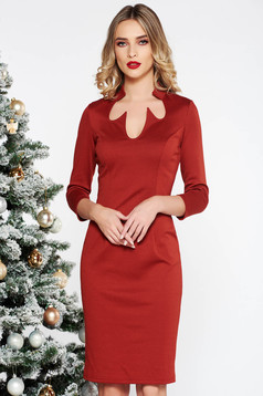 PrettyGirl bricky office midi pencil dress slightly elastic fabric with 3/4 sleeves