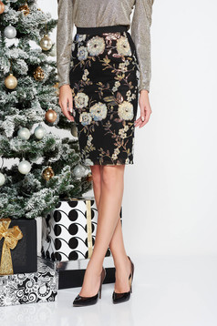 StarShinerS black occasional midi pencil skirt with sequins with inside lining