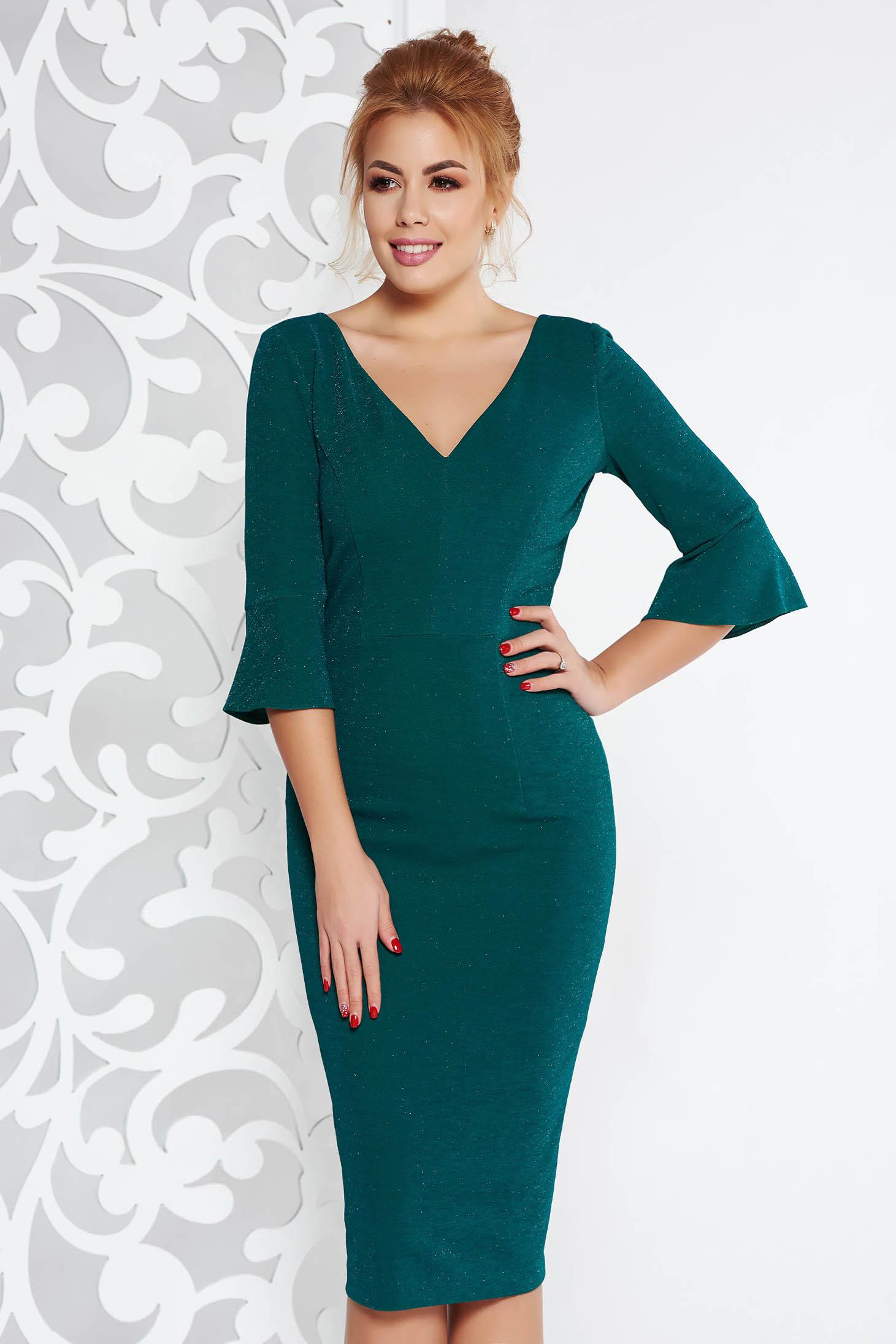 Rochie verde-inchis eleganta midi tip creion din material elastic cu fir lame captusita pe interior