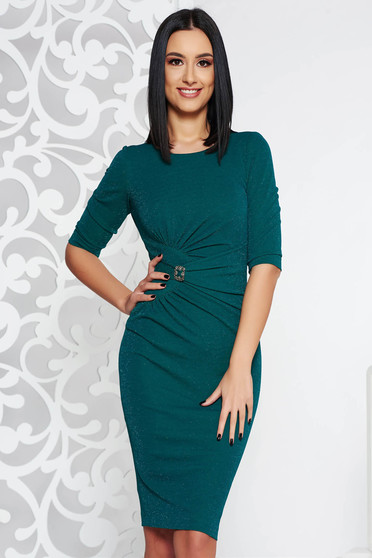 Darkgreen occasional midi pencil dress from elastic fabric with lame thread with inside lining accessorized with breastpin