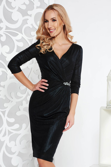 Black occasional midi pencil dress from shiny fabric with inside lining with v-neckline