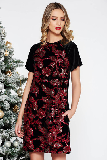 StarShinerS red occasional flared dress velvet with sequins short sleeves