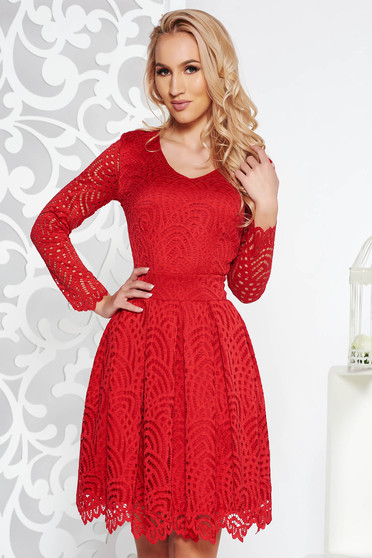 Red occasional cloche dress from laced fabric with inside lining with 3/4 sleeves
