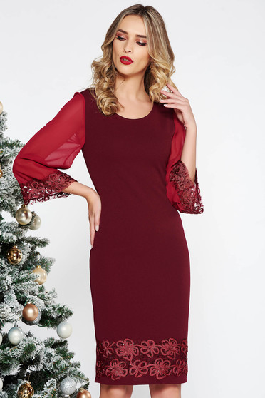 Burgundy elegant midi pencil dress with sequin embellished details slightly elastic fabric