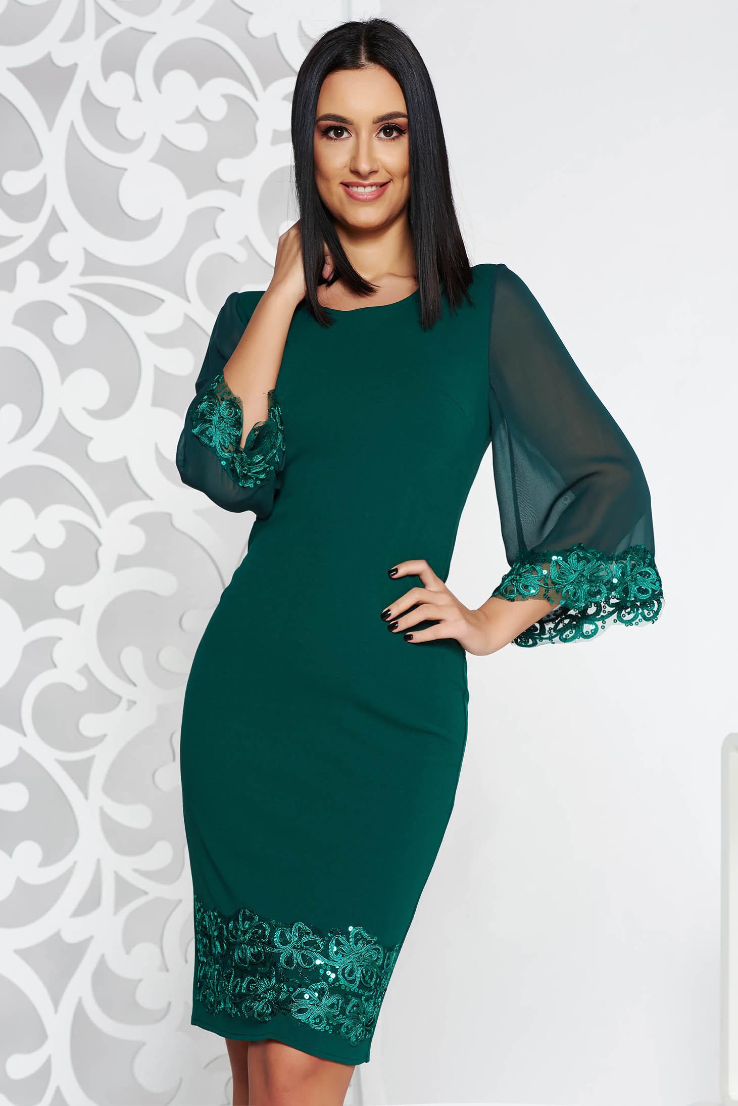 Zöld elegáns midi ceruza ruha flitteres díszítés enyhén rugalmas anyag c333db04c7
