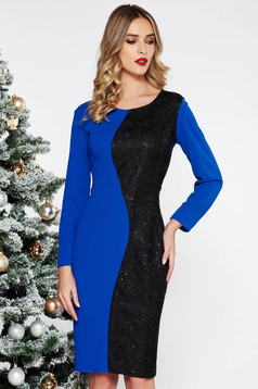 Blue elegant midi dress slightly elastic fabric with sequin embellished details