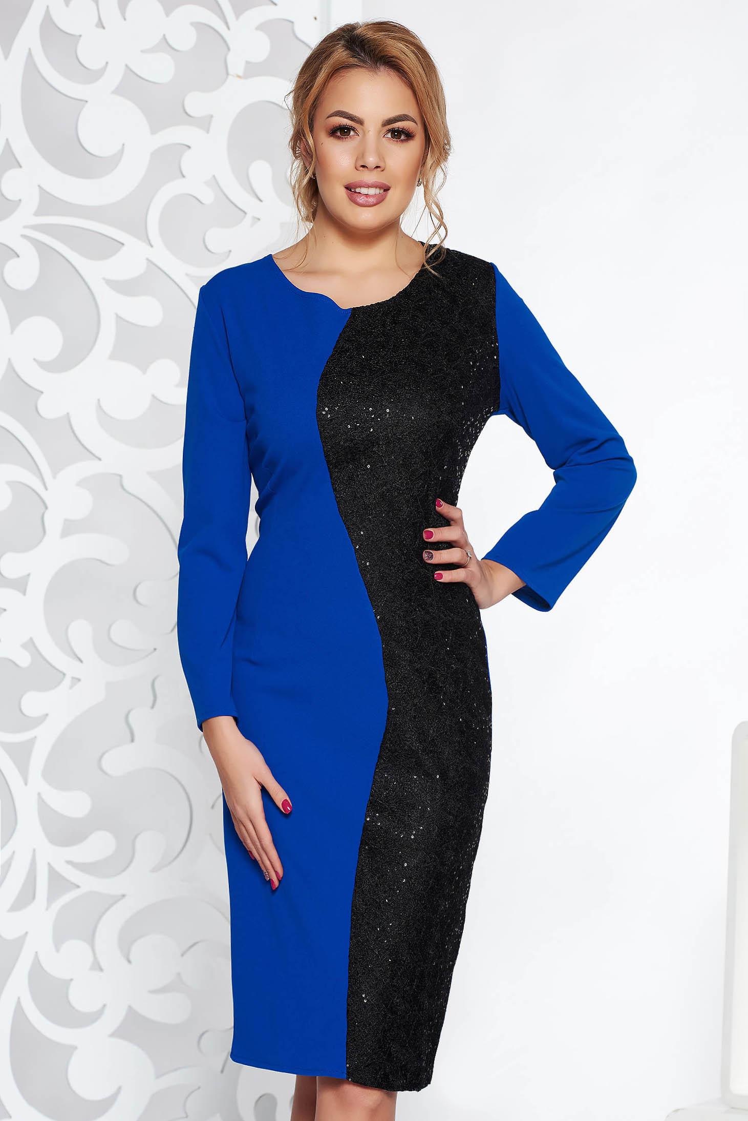Rochie albastra eleganta midi din material usor elastic cu aplicatii cu paiete