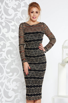 Artista black elegant midi with tented cut dress from laced fabric with inside lining