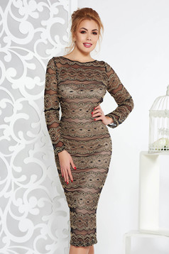 Artista gold elegant midi with tented cut dress from laced fabric with inside lining