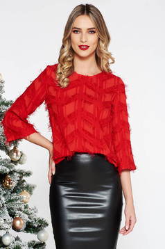 Red elegant flared women`s blouse nonelastic fabric feather details