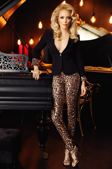 Fofy brown clubbing trousers with tented cut nonelastic fabric with medium waist with animal print