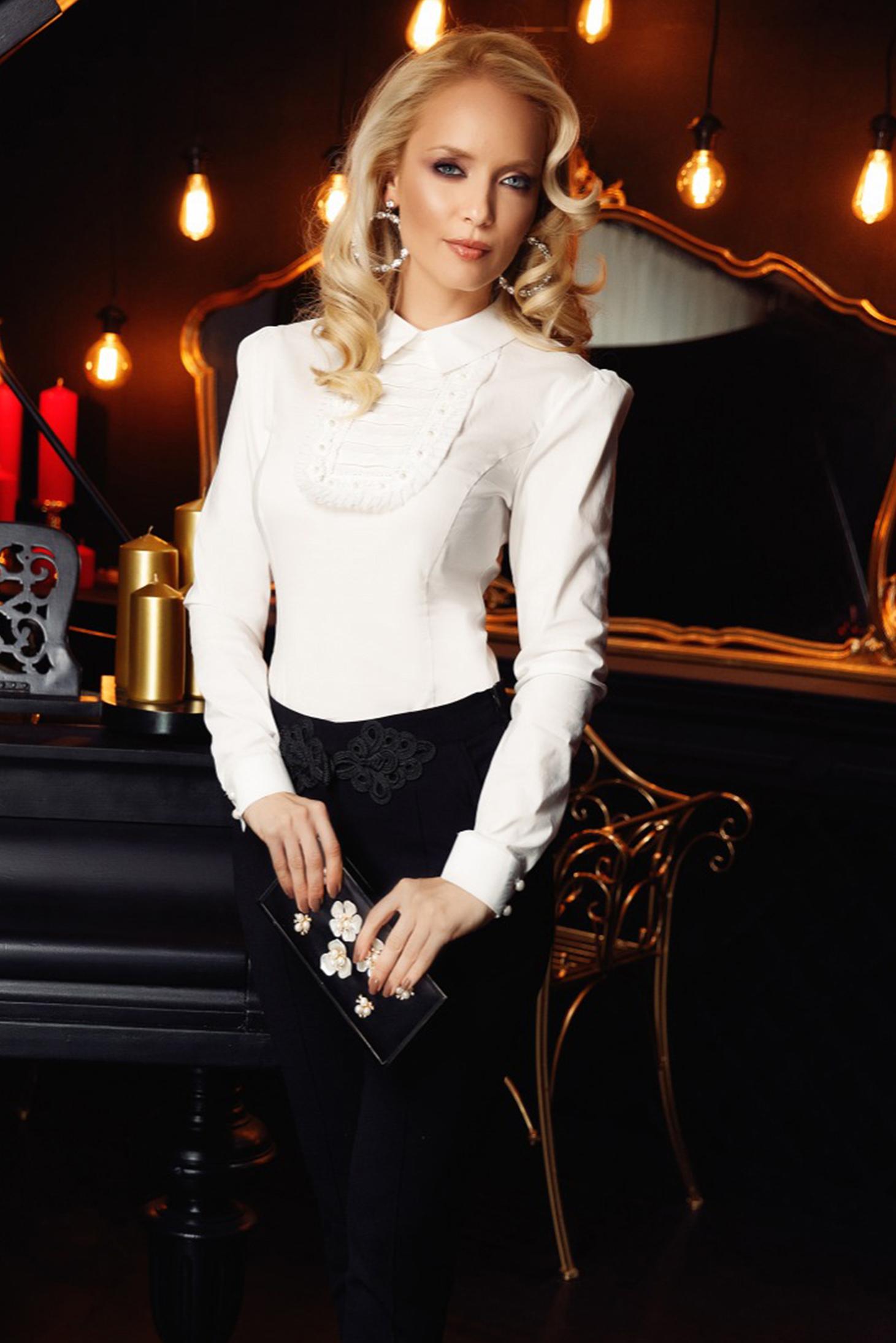 Fehér Fofy elegáns női ing szűk szabás enyhén elasztikus pamut csipke  díszítéssel 7826669ab0