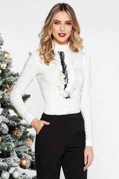Fofy white office women`s shirt with tented cut elastic cotton with lace details long sleeved