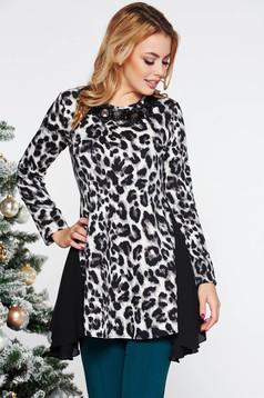 LaDonna black elegant asymmetrical flared women`s blouse slightly elastic fabric long sleeve